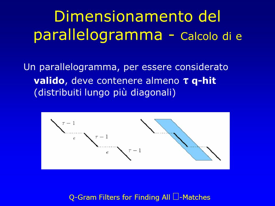Q-Gram Filters for Finding All -Matches Un parallelogramma, per essere considerato valido, deve contenere almeno τ q-hit (distribuiti lungo più diagon