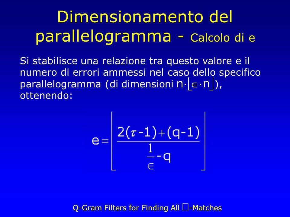 Q-Gram Filters for Finding All -Matches Dimensionamento del parallelogramma - Calcolo di e Si stabilisce una relazione tra questo valore e il numero di errori ammessi nel caso dello specifico parallelogramma (di dimensioni ), ottenendo: