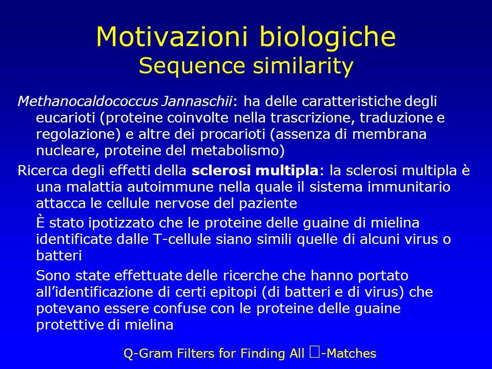 Q-Gram Filters for Finding All -Matches Motivazioni biologiche Sequence similarity Methanocaldococcus Jannaschii: ha delle caratteristiche degli eucarioti (proteine coinvolte nella trascrizione, traduzione e regolazione) e altre dei procarioti (assenza di membrana nucleare, proteine del metabolismo) Ricerca degli effetti della sclerosi multipla: la sclerosi multipla è una malattia autoimmune nella quale il sistema immunitario attacca le cellule nervose del paziente È stato ipotizzato che le proteine delle guaine di mielina identificate dalle T-cellule siano simili quelle di alcuni virus o batteri Sono state effettuate delle ricerche che hanno portato allidentificazione di certi epitopi (di batteri e di virus) che potevano essere confuse con le proteine delle guaine protettive di mielina