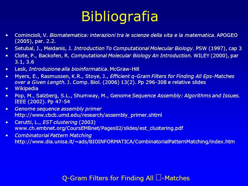 Q-Gram Filters for Finding All -Matches Bibliografia Comincioli, V. Biomatematica: interazioni tra le scienze della vita e la matematica. APOGEO (2005