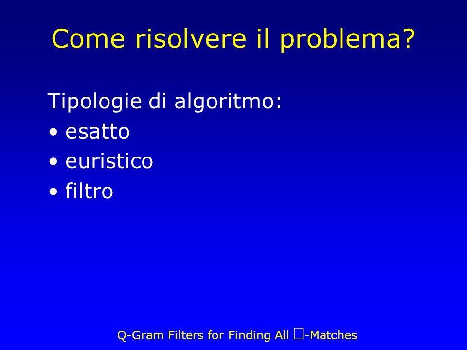 Q-Gram Filters for Finding All -Matches Complessità in spazio Bin e parallelogrammi: 3 interi Totale bin: Totale parallelogrammi: 3p