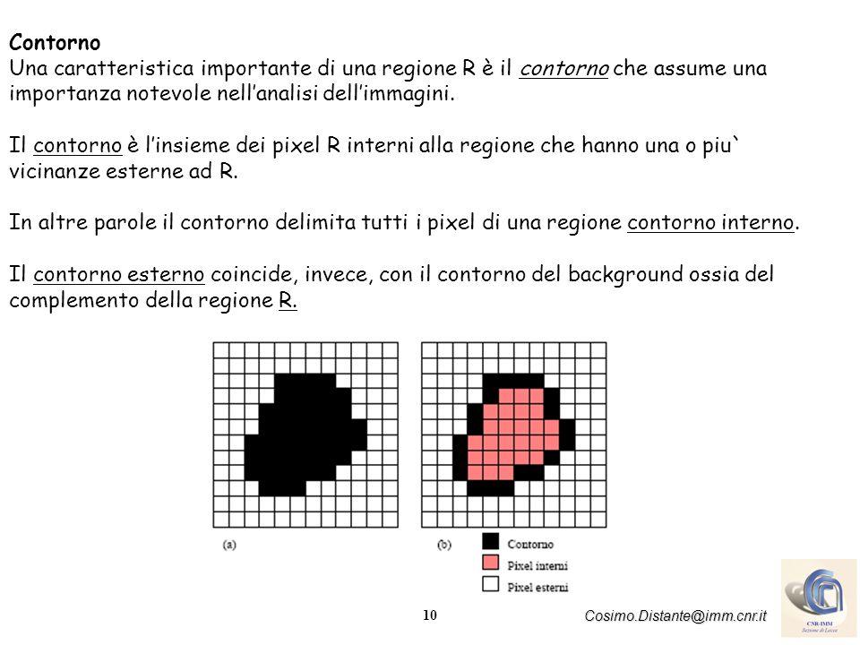 10 Cosimo.Distante@imm.cnr.it Contorno Una caratteristica importante di una regione R è il contorno che assume una importanza notevole nellanalisi dellimmagini.