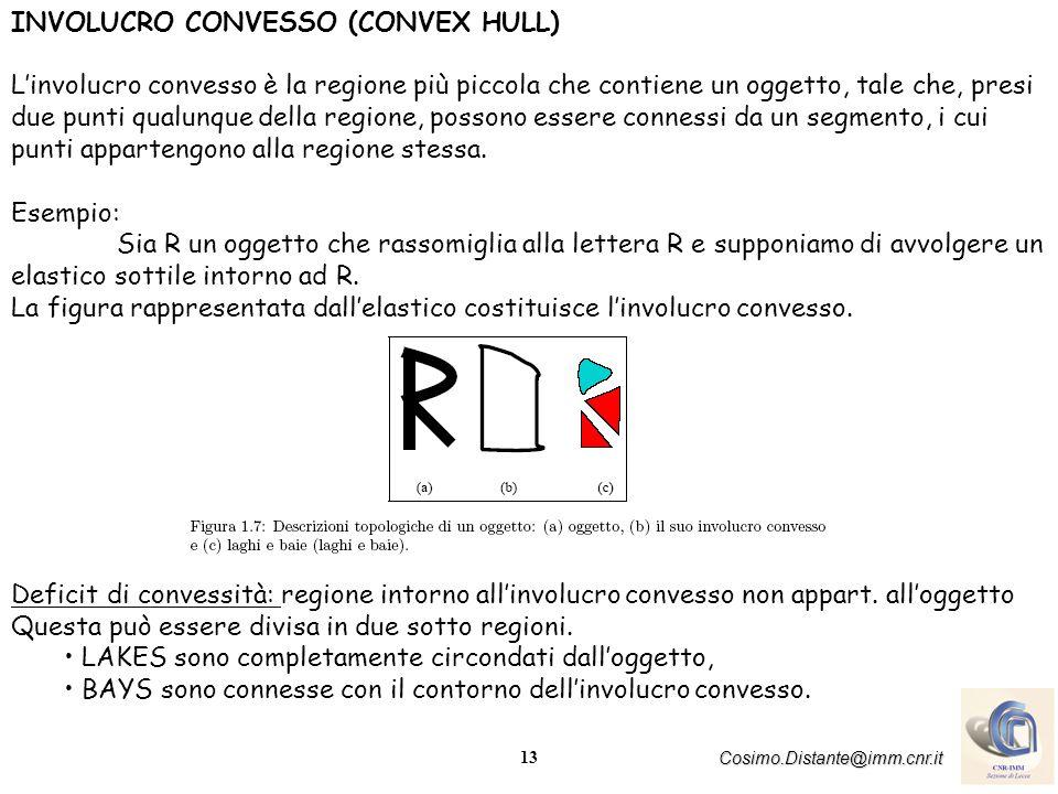 13 Cosimo.Distante@imm.cnr.it INVOLUCRO CONVESSO (CONVEX HULL) Linvolucro convesso è la regione più piccola che contiene un oggetto, tale che, presi due punti qualunque della regione, possono essere connessi da un segmento, i cui punti appartengono alla regione stessa.