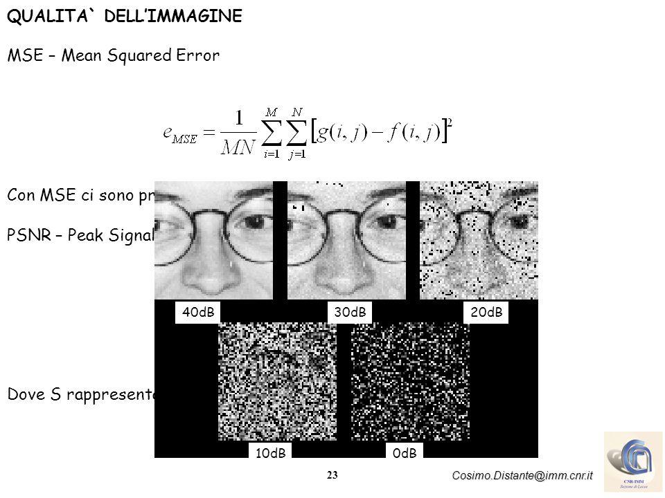 23 Cosimo.Distante@imm.cnr.it QUALITA` DELLIMMAGINE MSE – Mean Squared Error Con MSE ci sono problemi di scala PSNR – Peak Signal-to-Noise Ratio Dove S rappresenta il valore di grigio massimo 40dB 10dB 30dB20dB 0dB