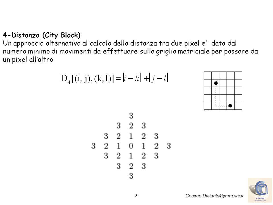 3 Cosimo.Distante@imm.cnr.it 4-Distanza (City Block) Un approccio alternativo al calcolo della distanza tra due pixel e` data dal numero minimo di movimenti da effettuare sulla griglia matriciale per passare da un pixel allaltro