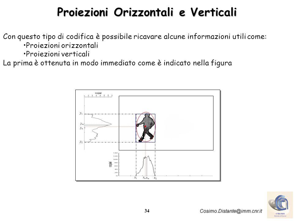 34 Cosimo.Distante@imm.cnr.it Con questo tipo di codifica è possibile ricavare alcune informazioni utili come: Proiezioni orizzontali Proiezioni verticali La prima è ottenuta in modo immediato come è indicato nella figura ymym xmxm y1y1 y c - y2y2 xcxc x1x1 x2x2 Proiezioni Orizzontali e Verticali