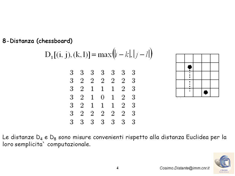 4 Cosimo.Distante@imm.cnr.it 8-Distanza (chessboard) Le distanze D 4 e D 8 sono misure convenienti rispetto alla distanza Euclidea per la loro semplicita` computazionale.