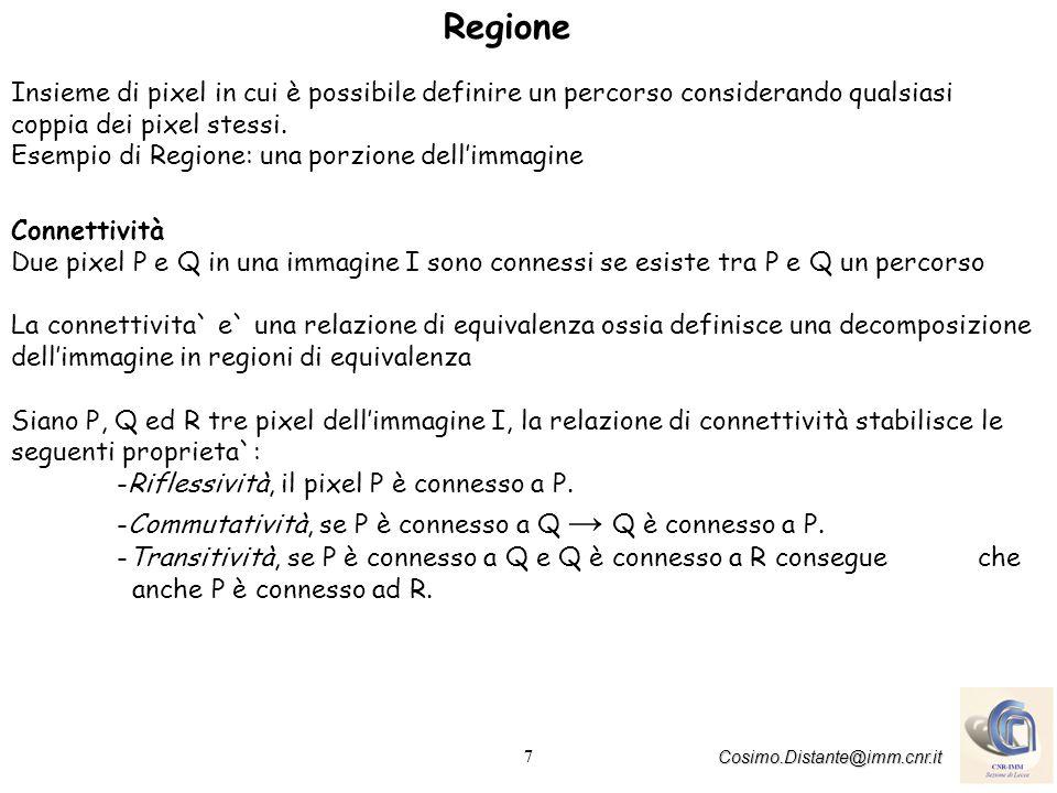 7 Cosimo.Distante@imm.cnr.it Regione Insieme di pixel in cui è possibile definire un percorso considerando qualsiasi coppia dei pixel stessi.