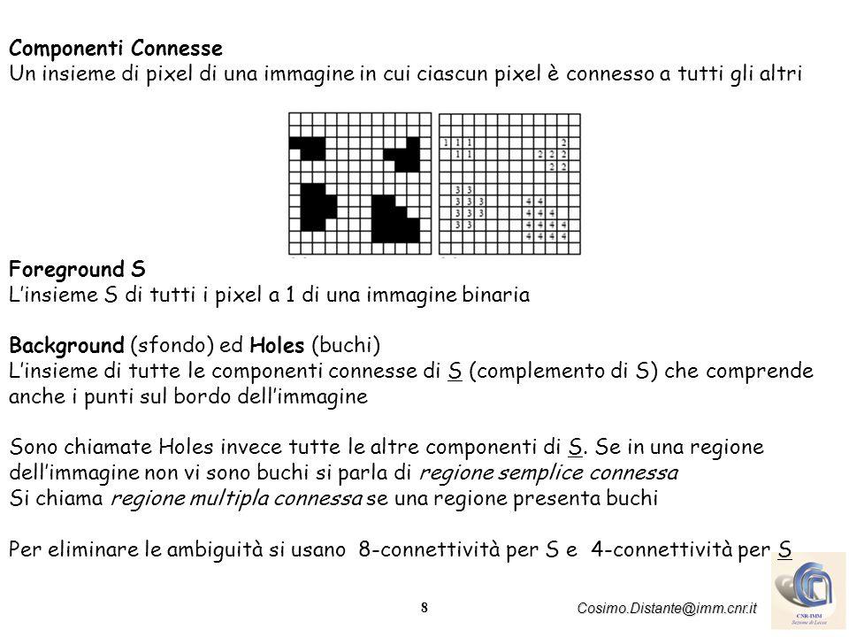 8 Cosimo.Distante@imm.cnr.it Componenti Connesse Un insieme di pixel di una immagine in cui ciascun pixel è connesso a tutti gli altri Foreground S Linsieme S di tutti i pixel a 1 di una immagine binaria Background (sfondo) ed Holes (buchi) Linsieme di tutte le componenti connesse di S (complemento di S) che comprende anche i punti sul bordo dellimmagine Sono chiamate Holes invece tutte le altre componenti di S.