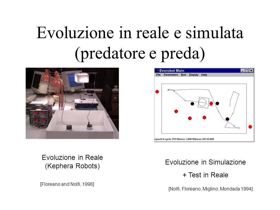 Evoluzione in reale e simulata (predatore e preda) [Floreano and Nolfi, 1998] Evoluzione in Reale (Kephera Robots) Evoluzione in Simulazione + Test in