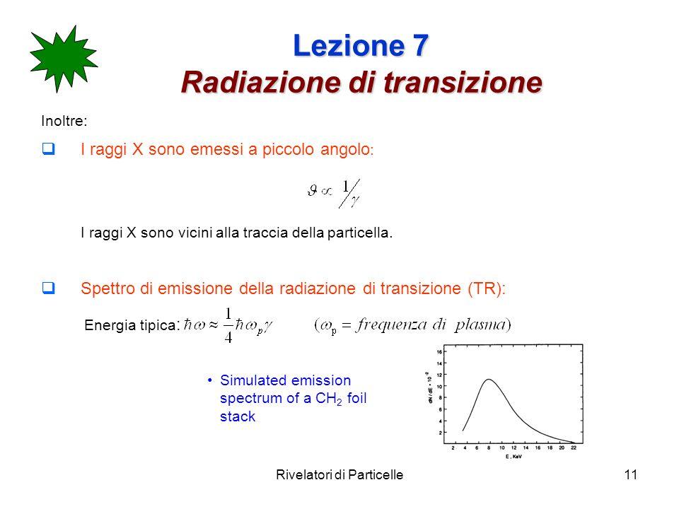 Rivelatori di Particelle11 Lezione 7 Radiazione di transizione Inoltre: I raggi X sono emessi a piccolo angolo : I raggi X sono vicini alla traccia della particella.