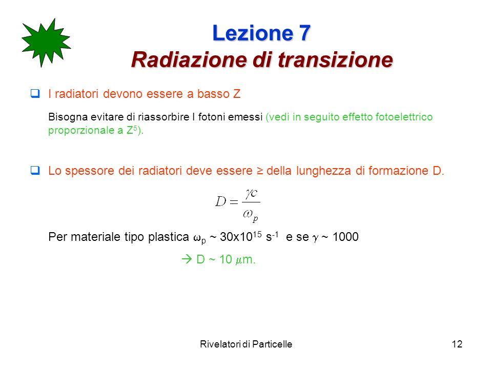 Rivelatori di Particelle12 Lezione 7 Radiazione di transizione I radiatori devono essere a basso Z Bisogna evitare di riassorbire I fotoni emessi (vedi in seguito effetto fotoelettrico proporzionale a Z 5 ).