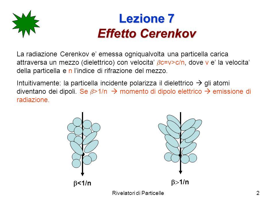 Rivelatori di Particelle2 Lezione 7 Effetto Cerenkov La radiazione Cerenkov e emessa ogniqualvolta una particella carica attraversa un mezzo (dielettrico) con velocita c=v>c/n, dove v e la velocita della particella e n lindice di rifrazione del mezzo.