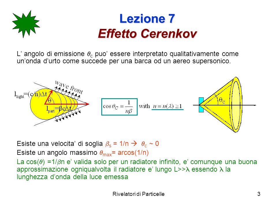Rivelatori di Particelle3 Lezione 7 Effetto Cerenkov L angolo di emissione c puo essere interpretato qualitativamente come unonda durto come succede per una barca od un aereo supersonico.