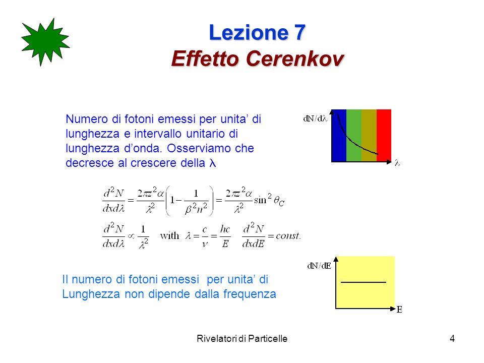 Rivelatori di Particelle4 Lezione 7 Effetto Cerenkov Numero di fotoni emessi per unita di lunghezza e intervallo unitario di lunghezza donda.