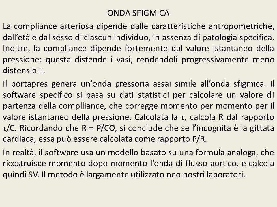ONDA SFIGMICA La compliance arteriosa dipende dalle caratteristiche antropometriche, dalletà e dal sesso di ciascun individuo, in assenza di patologia