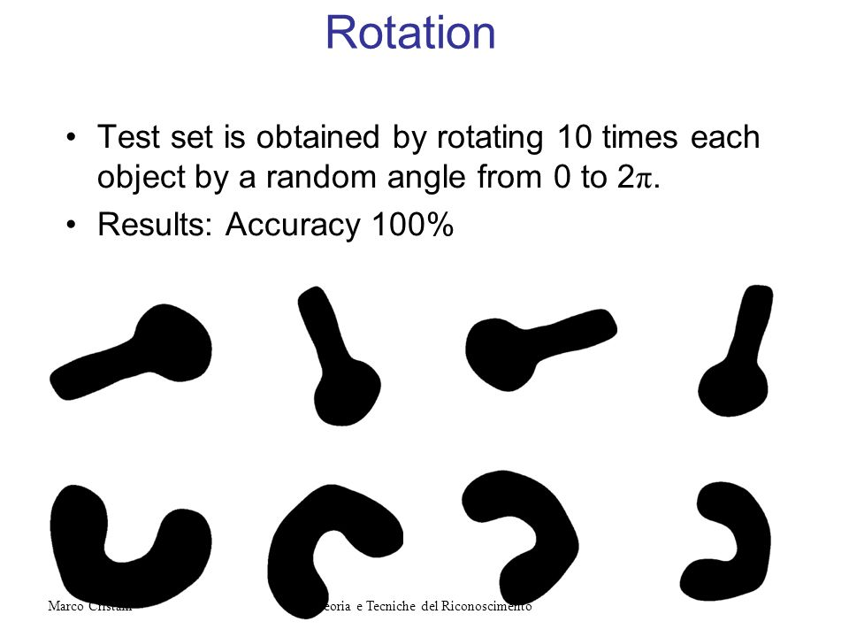 Rotation Test set is obtained by rotating 10 times each object by a random angle from 0 to 2 π. Results: Accuracy 100% Teoria e Tecniche del Riconosci
