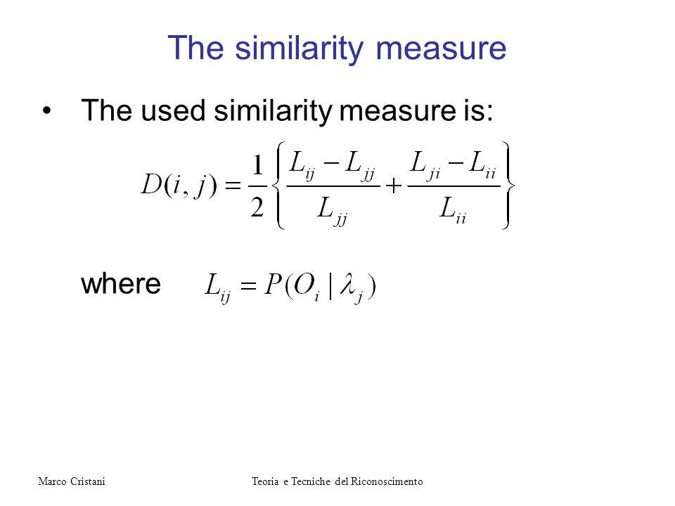 The used similarity measure is: where The similarity measure Teoria e Tecniche del RiconoscimentoMarco Cristani