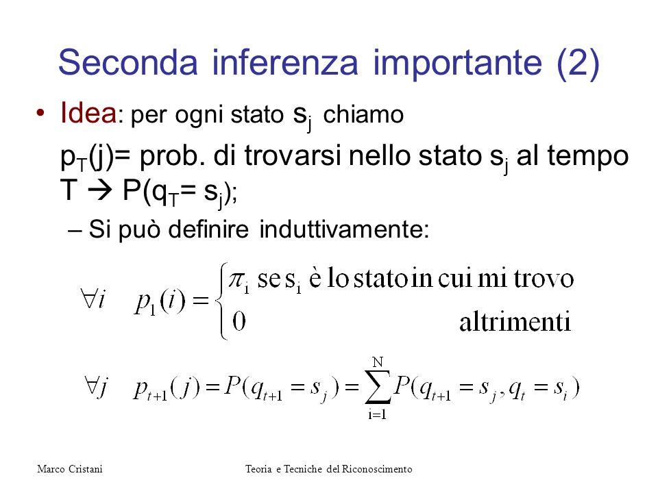 Seconda inferenza importante (2) Idea : per ogni stato s j chiamo p T (j)= prob. di trovarsi nello stato s j al tempo T P(q T = s j ); –Si può definir