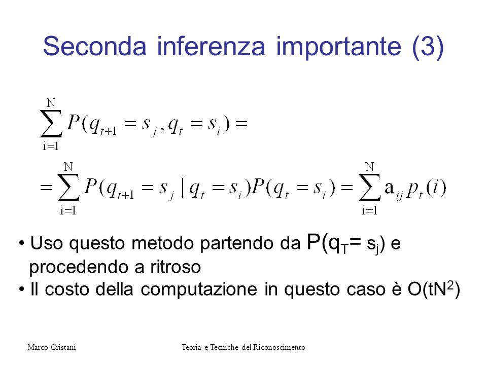Seconda inferenza importante (3) Uso questo metodo partendo da P(q T = s j ) e procedendo a ritroso Il costo della computazione in questo caso è O(tN