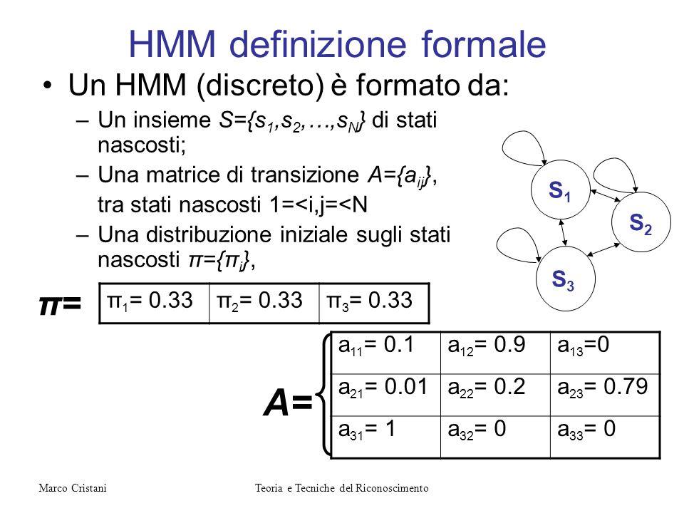 HMM definizione formale Un HMM (discreto) è formato da: –Un insieme S={s 1,s 2,…,s N } di stati nascosti; –Una matrice di transizione A={a ij }, tra s