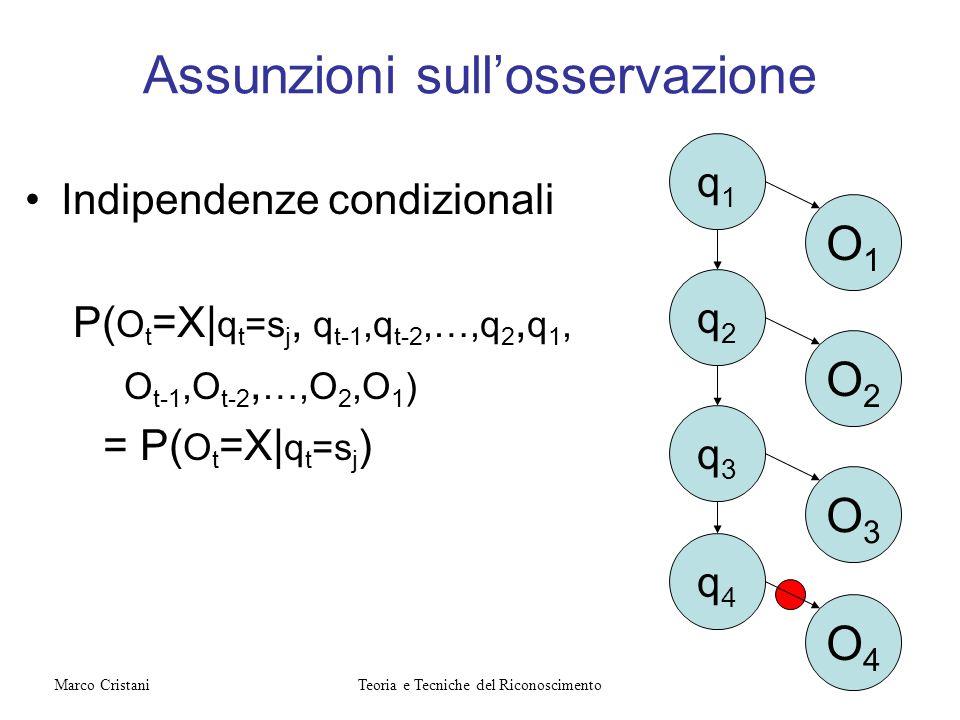 Assunzioni sullosservazione Indipendenze condizionali P( O t =X| q t =s j, q t-1,q t-2,…,q 2, q 1, O t-1,O t-2, …,O 2,O 1 ) = P( O t =X| q t =s j ) q1
