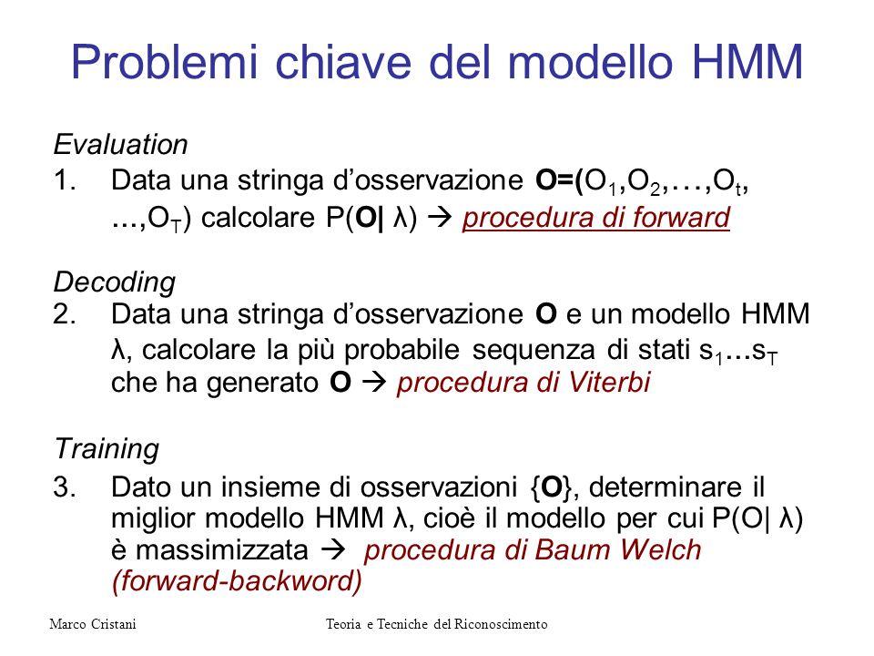 Problemi chiave del modello HMM Evaluation 1.Data una stringa dosservazione O=(O 1, O 2,…, O t,..., O T ) calcolare P(O| λ) procedura di forward Decod