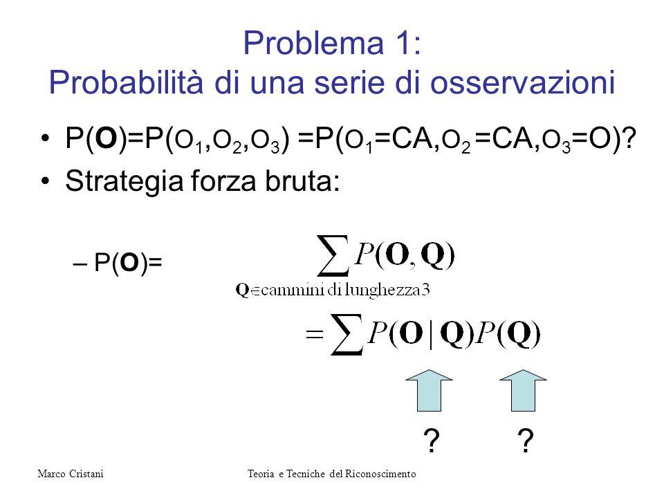 Problema 1: Probabilità di una serie di osservazioni P(O)=P( O 1, O 2, O 3 ) =P( O 1 =CA, O 2 =CA, O 3 =O)? Strategia forza bruta: –P(O)= ?? Teoria e