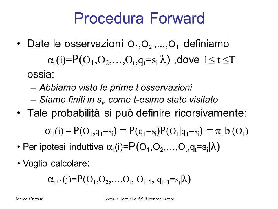 Procedura Forward Date le osservazioni O 1, O 2,..., O T definiamo t (i)= P( O 1, O 2,…,O t, q t =s i |λ),dove 1 t T ossia: –Abbiamo visto le prime t