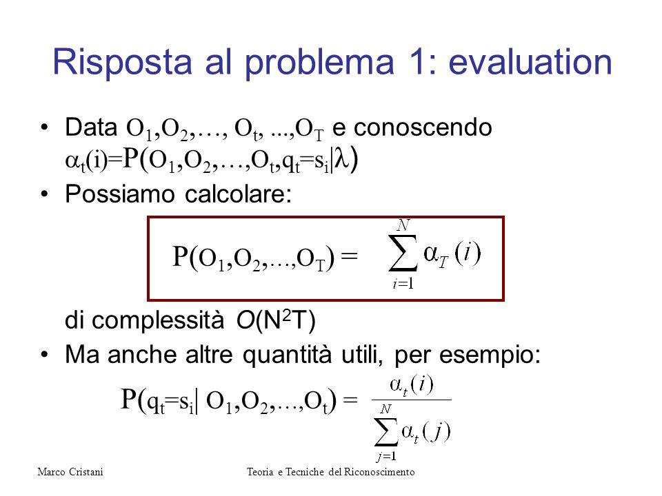 Data O 1, O 2, …, O t,...,O T e conoscendo t (i)= P( O 1, O 2, …,O t, q t =s i |λ ) Possiamo calcolare: P( O 1, O 2, …, O T ) = di complessità O(N 2 T