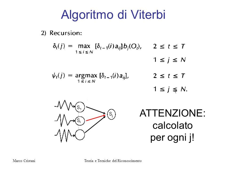Algoritmo di Viterbi ATTENZIONE: calcolato per ogni j! Teoria e Tecniche del RiconoscimentoMarco Cristani