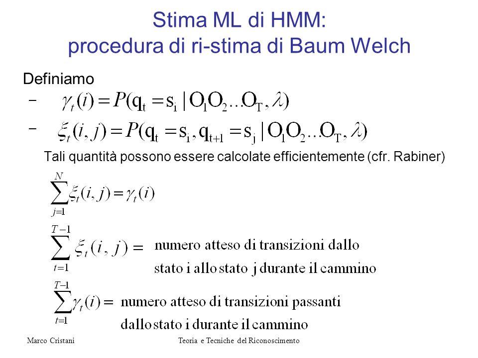 Stima ML di HMM: procedura di ri-stima di Baum Welch Definiamo – – Tali quantità possono essere calcolate efficientemente (cfr. Rabiner) Teoria e Tecn