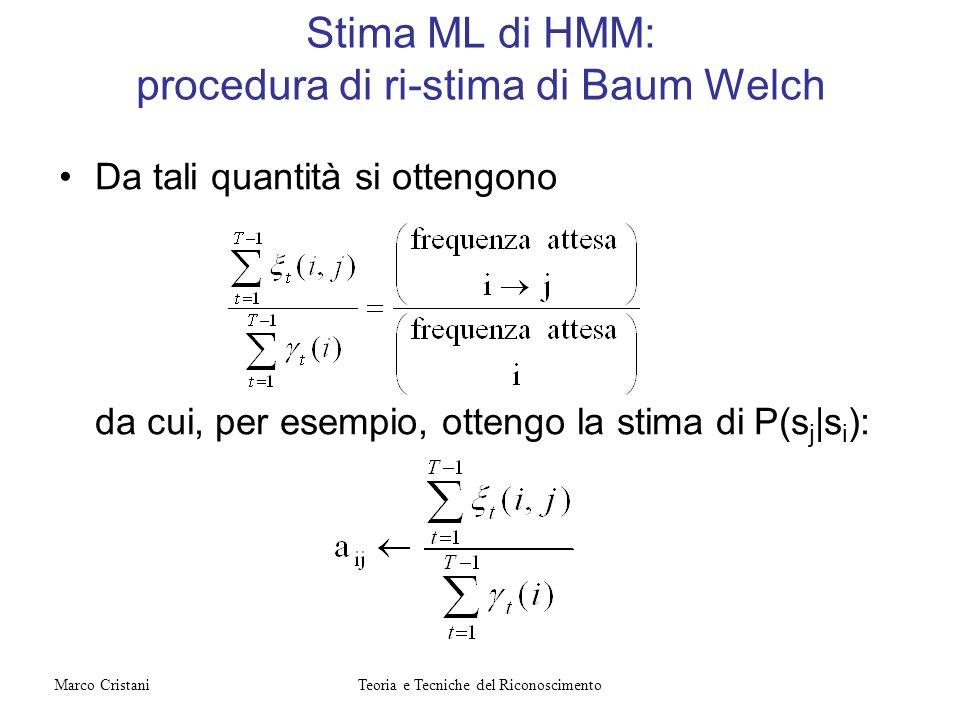 Da tali quantità si ottengono da cui, per esempio, ottengo la stima di P(s j |s i ): Stima ML di HMM: procedura di ri-stima di Baum Welch Teoria e Tec