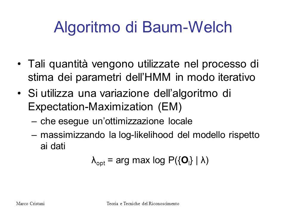 Algoritmo di Baum-Welch Tali quantità vengono utilizzate nel processo di stima dei parametri dellHMM in modo iterativo Si utilizza una variazione dell