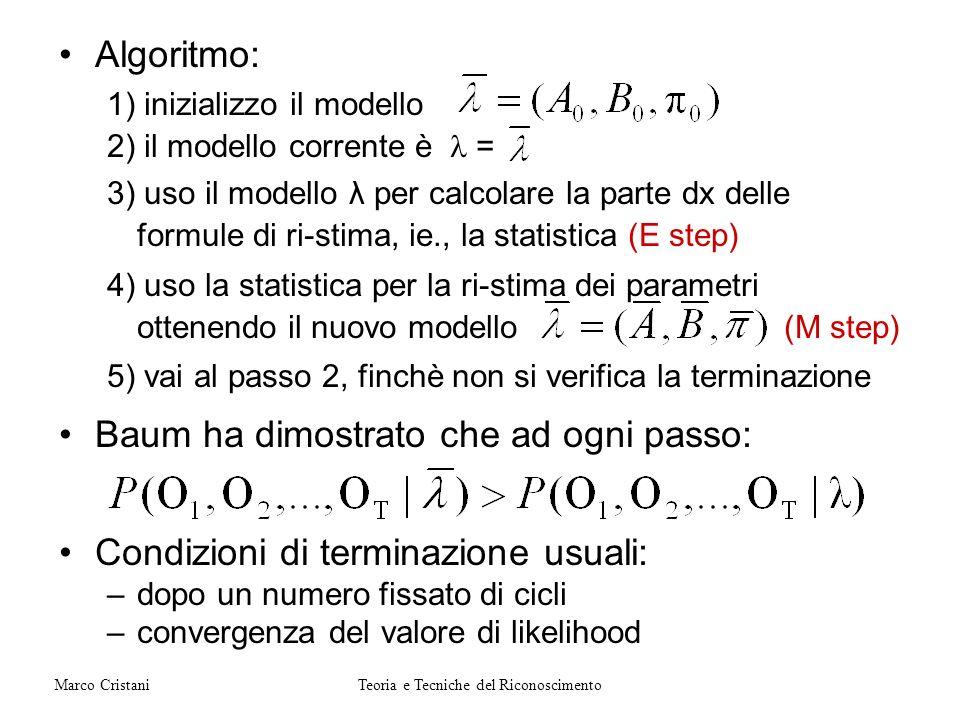 Algoritmo: 1) inizializzo il modello 2) il modello corrente è = 3) uso il modello λ per calcolare la parte dx delle formule di ri-stima, ie., la stati