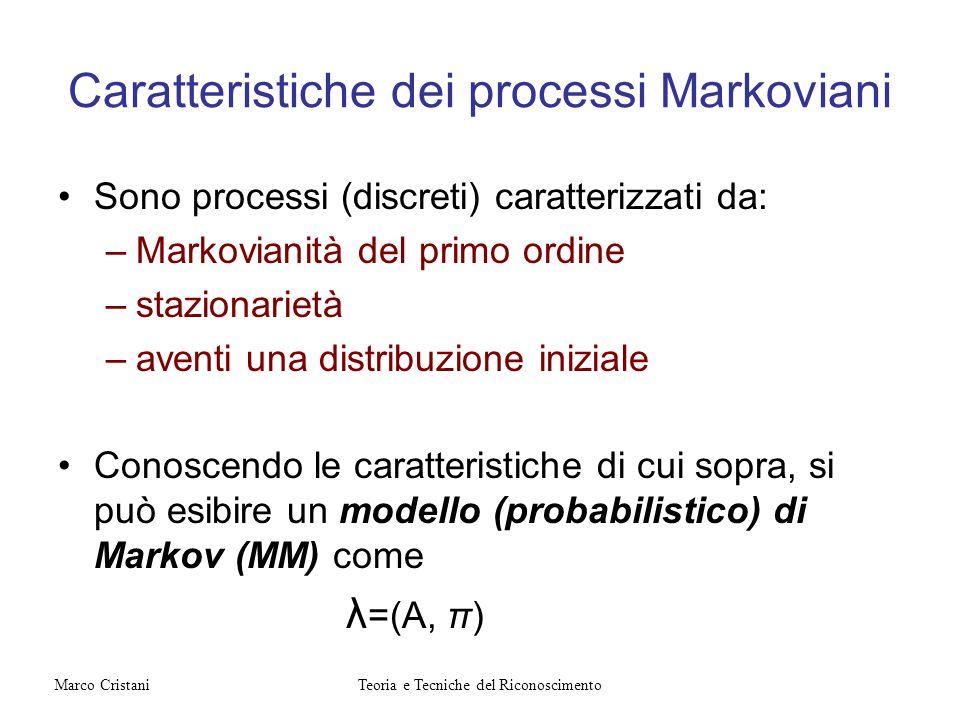 Caratteristiche dei processi Markoviani Sono processi (discreti) caratterizzati da: –Markovianità del primo ordine –stazionarietà –aventi una distribu