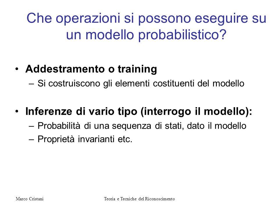 Che operazioni si possono eseguire su un modello probabilistico? Addestramento o training –Si costruiscono gli elementi costituenti del modello Infere