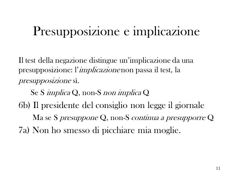 11 Presupposizione e implicazione Il test della negazione distingue unimplicazione da una presupposizione: limplicazione non passa il test, la presupp