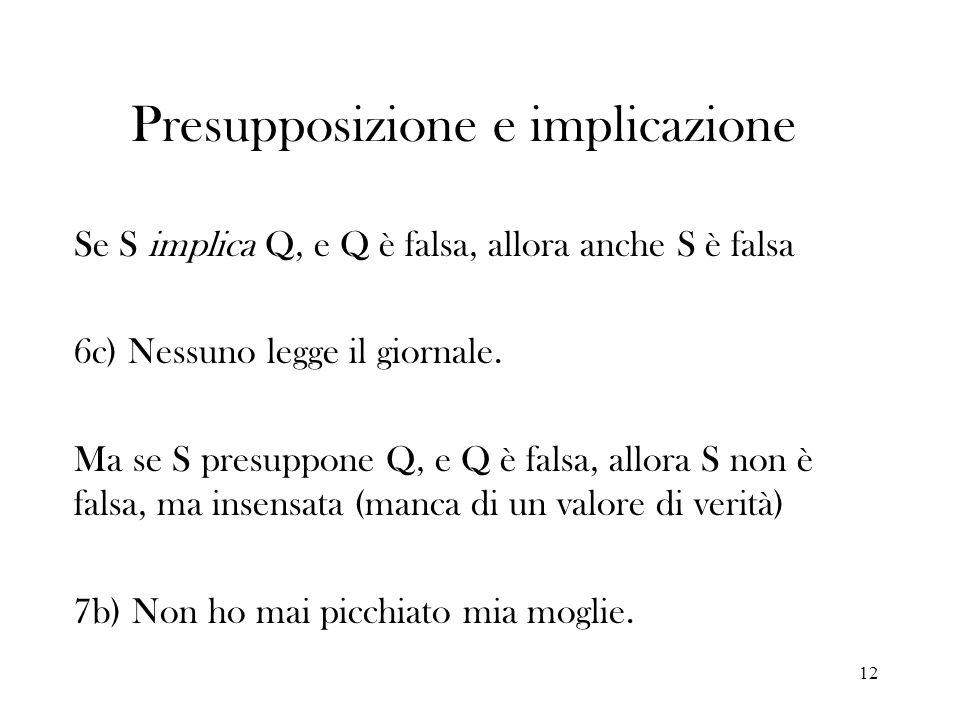 12 Presupposizione e implicazione Se S implica Q, e Q è falsa, allora anche S è falsa 6c) Nessuno legge il giornale. Ma se S presuppone Q, e Q è falsa