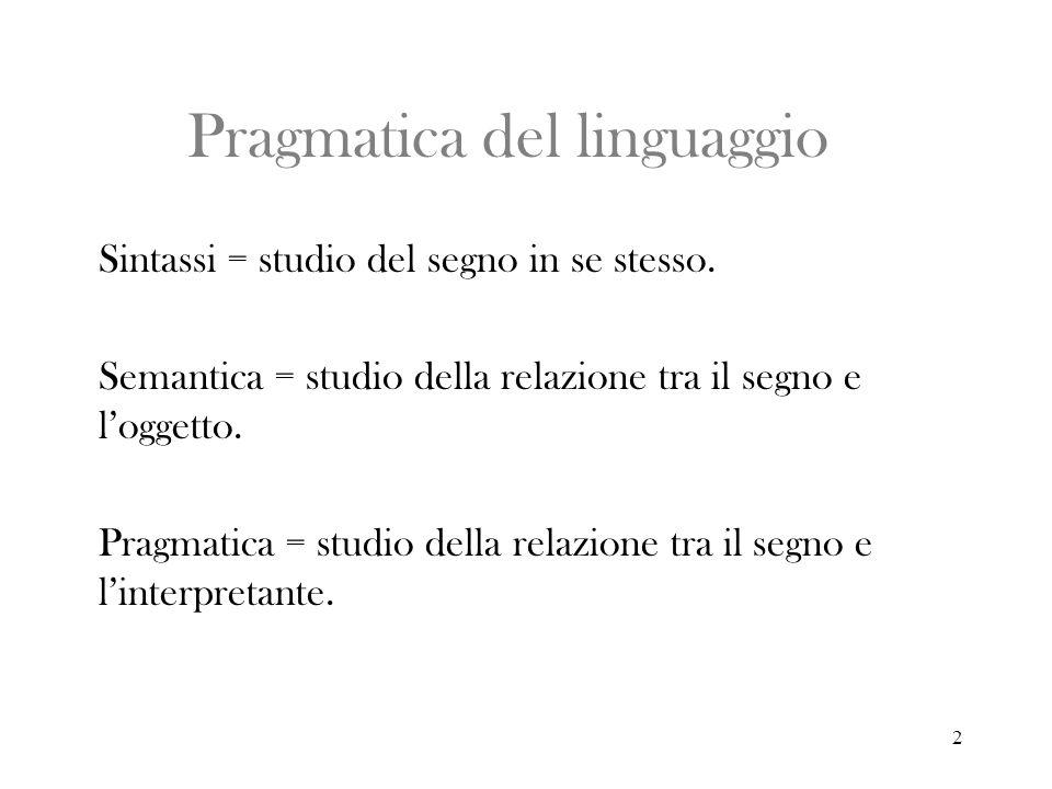 2 Pragmatica del linguaggio Sintassi = studio del segno in se stesso. Semantica = studio della relazione tra il segno e loggetto. Pragmatica = studio