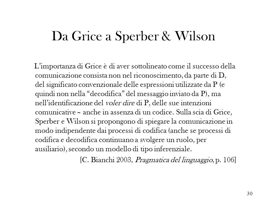 30 Da Grice a Sperber & Wilson Limportanza di Grice è di aver sottolineato come il successo della comunicazione consista non nel riconoscimento, da pa