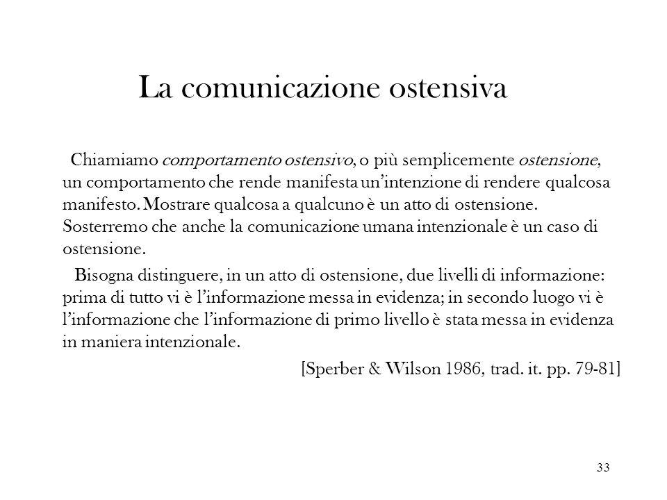 33 La comunicazione ostensiva Chiamiamo comportamento ostensivo, o più semplicemente ostensione, un comportamento che rende manifesta unintenzione di