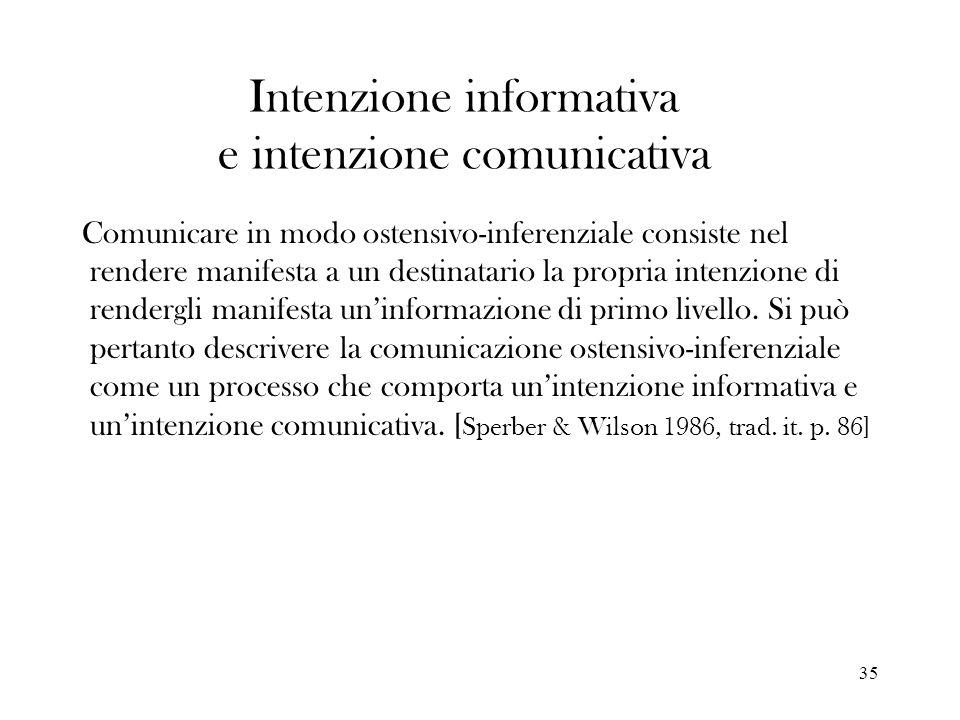 35 Intenzione informativa e intenzione comunicativa Comunicare in modo ostensivo-inferenziale consiste nel rendere manifesta a un destinatario la prop