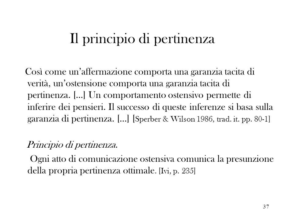 37 Il principio di pertinenza Così come unaffermazione comporta una garanzia tacita di verità, unostensione comporta una garanzia tacita di pertinenza