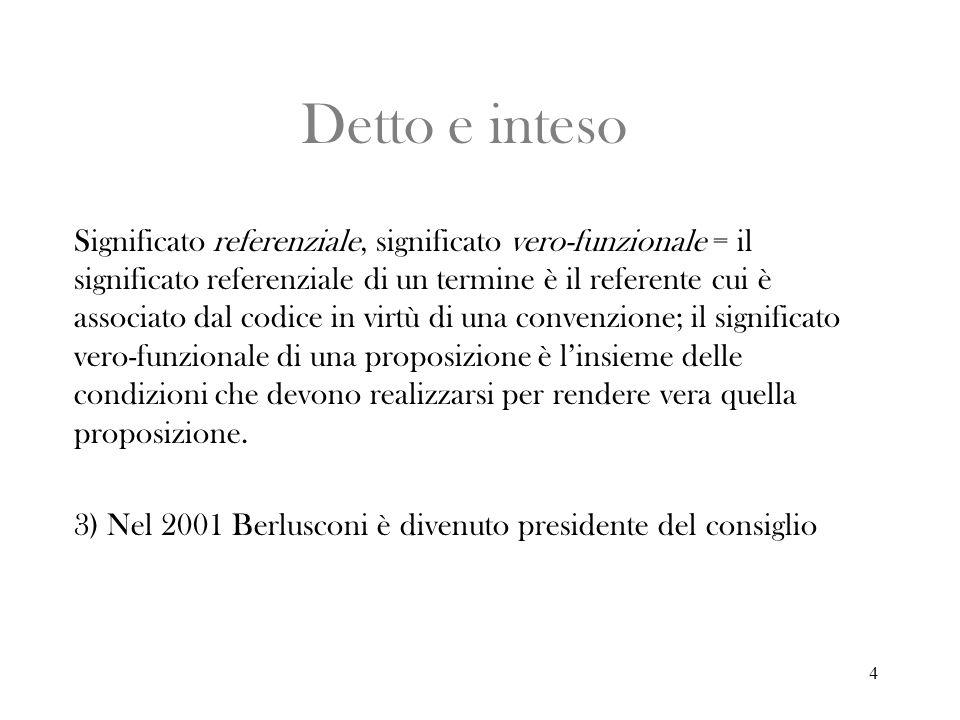 4 Detto e inteso Significato referenziale, significato vero-funzionale = il significato referenziale di un termine è il referente cui è associato dal