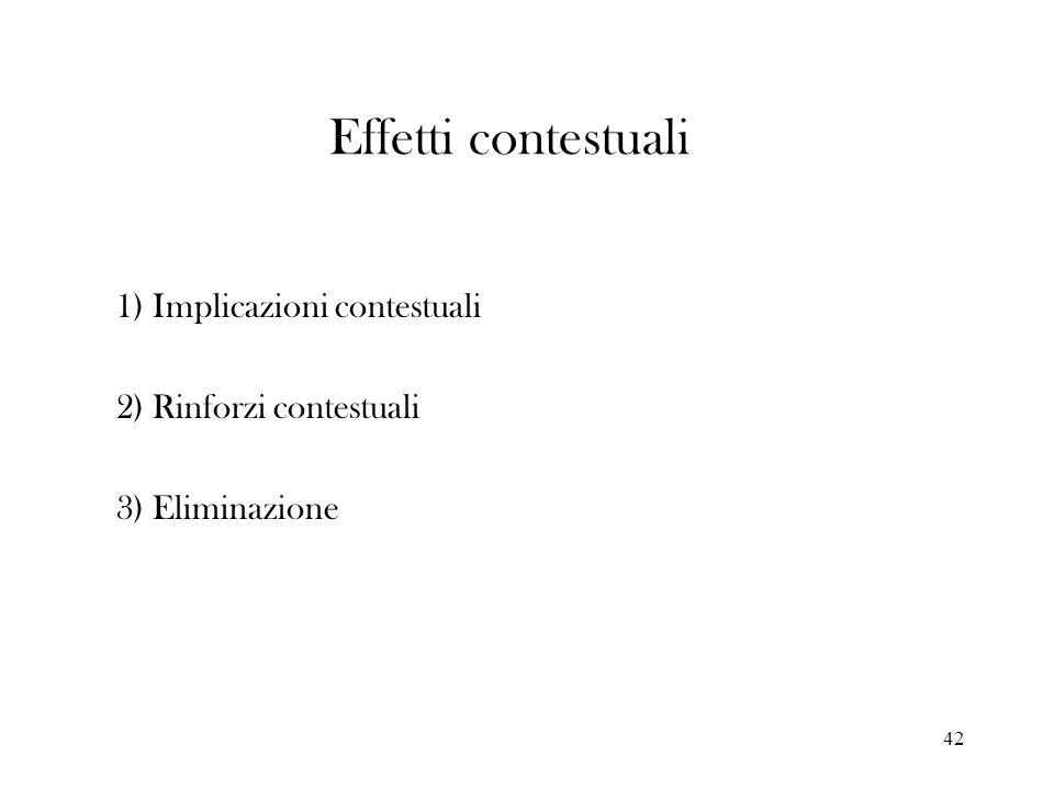 42 Effetti contestuali 1) Implicazioni contestuali 2) Rinforzi contestuali 3) Eliminazione
