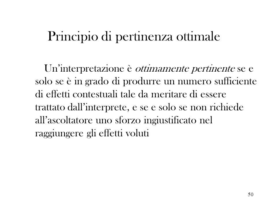 50 Principio di pertinenza ottimale Uninterpretazione è ottimamente pertinente se e solo se è in grado di produrre un numero sufficiente di effetti co