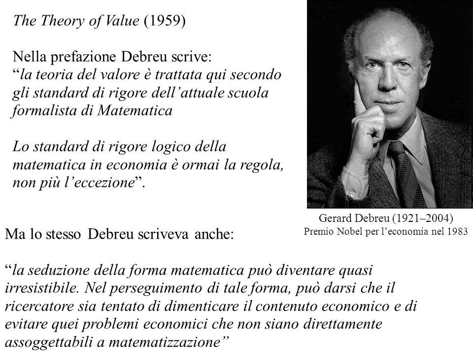 The Theory of Value (1959) Nella prefazione Debreu scrive: la teoria del valore è trattata qui secondo gli standard di rigore dellattuale scuola forma