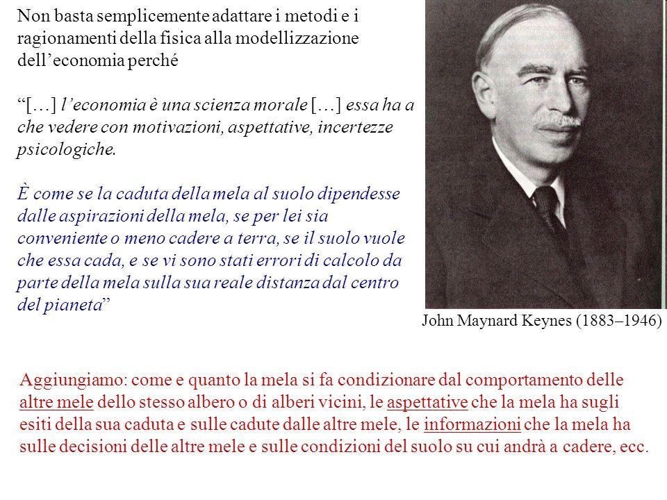 John Maynard Keynes (1883–1946) Non basta semplicemente adattare i metodi e i ragionamenti della fisica alla modellizzazione delleconomia perché […] l