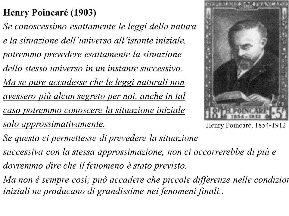 Henry Poincaré (1903) Se conoscessimo esattamente le leggi della natura e la situazione delluniverso allistante iniziale, potremmo prevedere esattamen